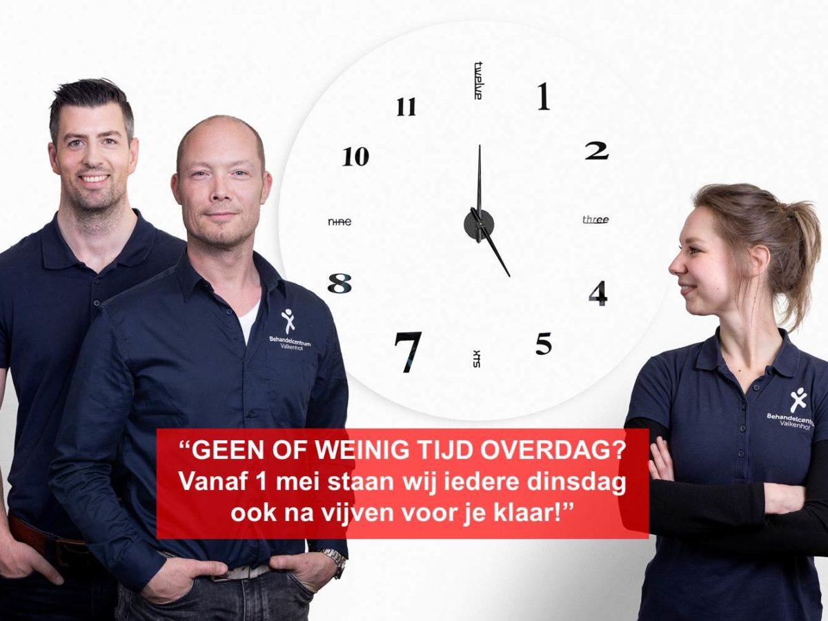 Behandelcentrum Valkenhof vanaf 1 mei ook dinsdagavond open!